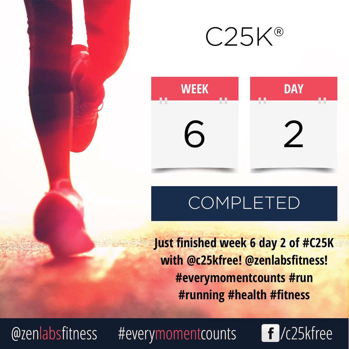 Just finished week 6 day 2 of #C25K with @c25kfree! @zenlabsfitness! #everymomentcounts #run #running #health #fitness https://t.co/FDBbkeXuwv