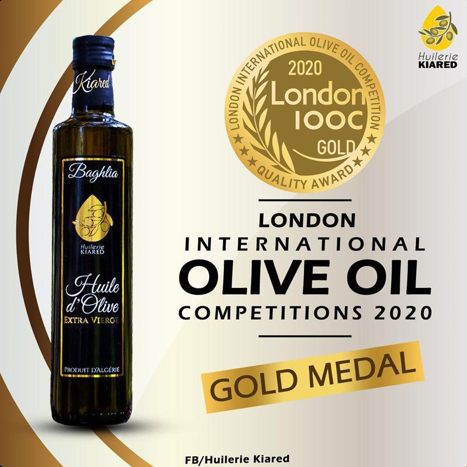 Baghlia olive oil produced by Algerian bottling company, Huilerie Kiared has won the Gold medal at the 2020 International London Olive Oil Competitions.