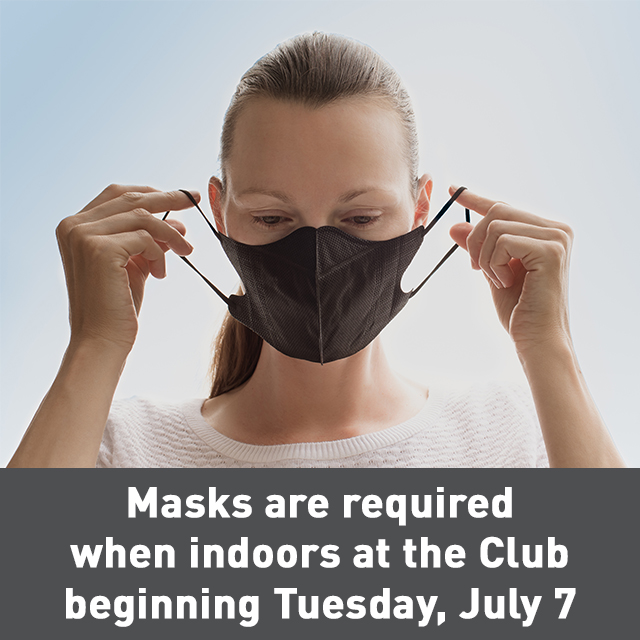 Members: a reminder that beginning tomorrow (July 7) masks will be required when indoors at the Club in order to comply with the City of Toronto's new bylaw #TCSCC https://t.co/8cZXgXuTqR