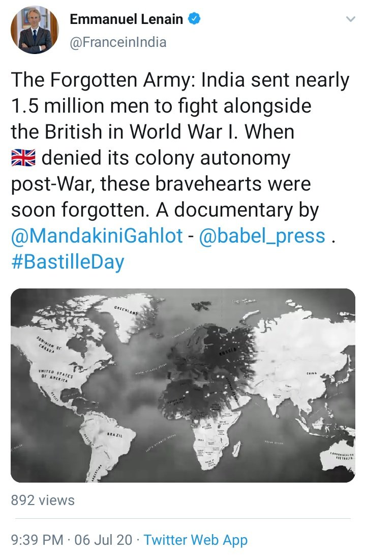 Statement of French Ambassador to India Thank you #France  Question is have we remembered our own soldiers from WW 1? We should not forget who have put on the uniform. pic.twitter.com/yoS5NrI4xM