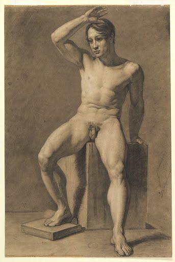 Title: Seated Male Nude; verso, Male Nude Walking Creator: Anselm Feuerbach bit.ly/3dJ8JR4 #art #artmonday #meninart #nudemen #nude #man