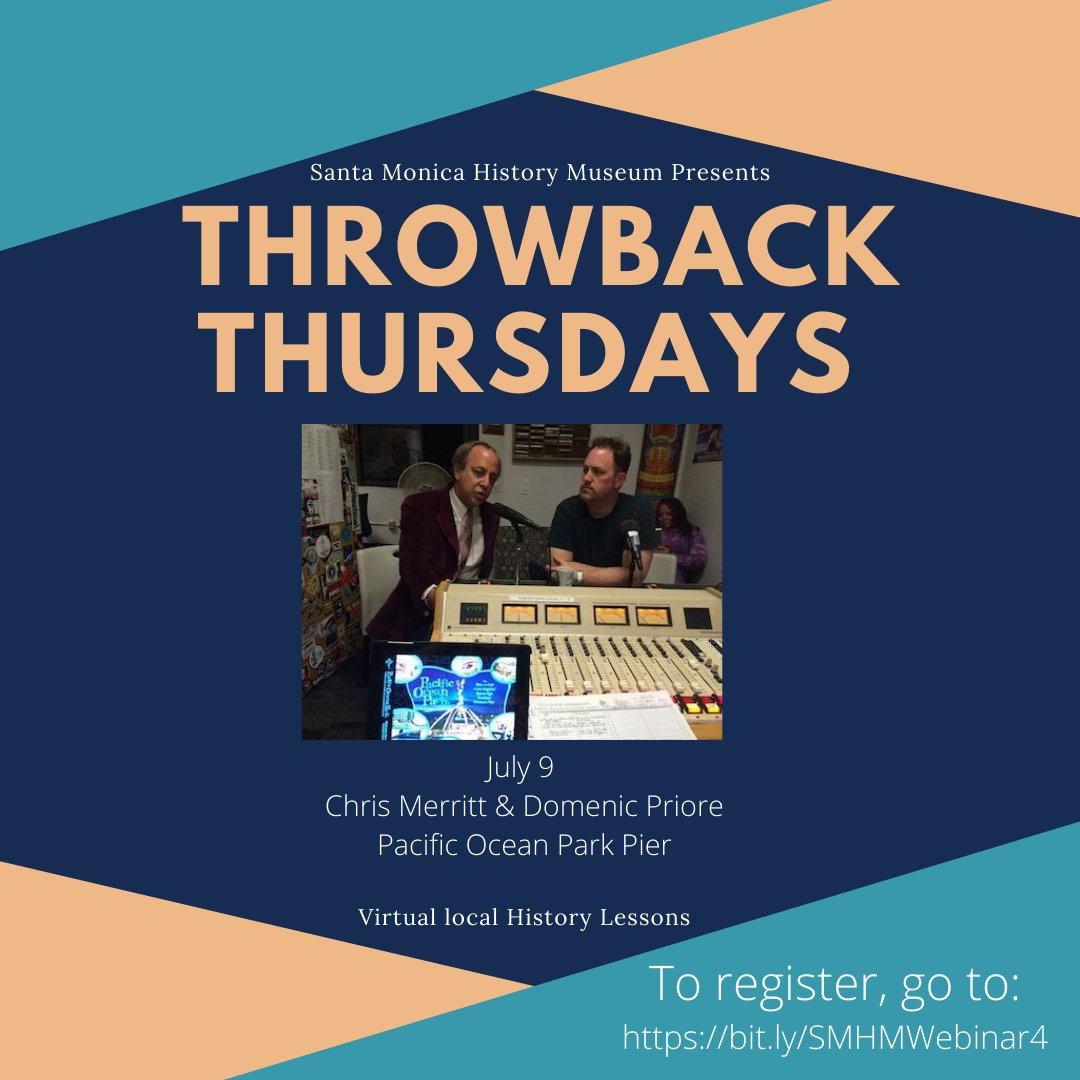 Join us this Thursday at 5pm for our Throwback Thursdays virtual lecture on Pacific Ocean Park! Register for free, watch past lectures, and learn more here: https://t.co/kv9PQhMmS9  #Santamonicahistory #pacificoceanpark #pier #tbt #SMHMThrowbackThursdays https://t.co/Y2IJmZl10u