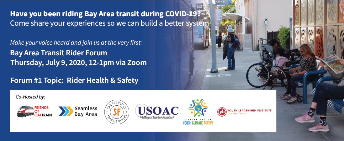 Bay Area transit riders: Have you been taking transit since the pandemic started? Are you concerned about using transit for health and safety reasons? Join us this Thurs, July 9, to share your experiences and thoughts about using transit right now. RSVP: actionnetwork.org/events/bay-are…