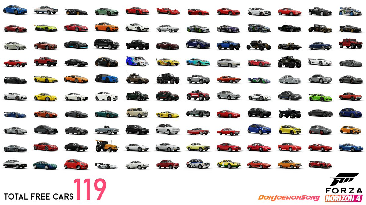 "Just a friendly reminder that #ForzaHorizon4 has now added a combined total of 119 FREE cars into the game!!  I'll say it again ""For the 10000th time"" The Post release content for this game is NUTS!!!!  GG's @WeArePlayground  pic.twitter.com/TlRimMNtCi"