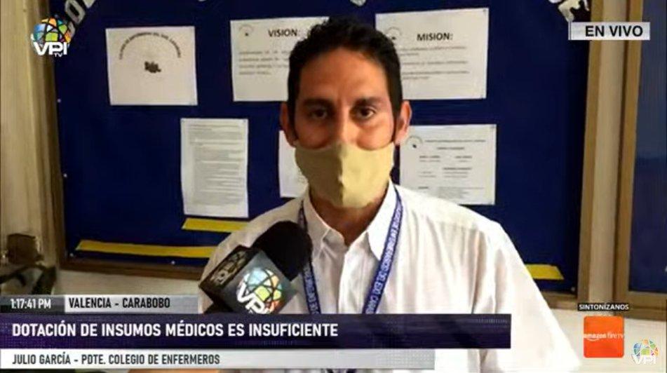 """#6Jul #Carabobo #Coronavirus Pdte. Colegio de enfermeros Julio García: """"Se entregará un escrito a la Defensoría del Pueblo porque se repite la problemática en la inconsistencia en los equipos"""". https://t.co/N6Nsr5d7OQ - @VPITV"""
