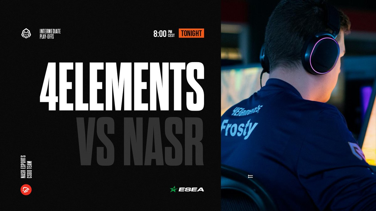MATCHDAY [#CSGO | #ESEA]  Our main roster is playing their first play-off match in Intermediate league against @NasrEsports !  **LIVE IN 10 MINUTES**  : https://twitch.tv/4elementse : @JexCSGO & @djmethedj & @Luckyyx_pic.twitter.com/ciPBeYPBUq
