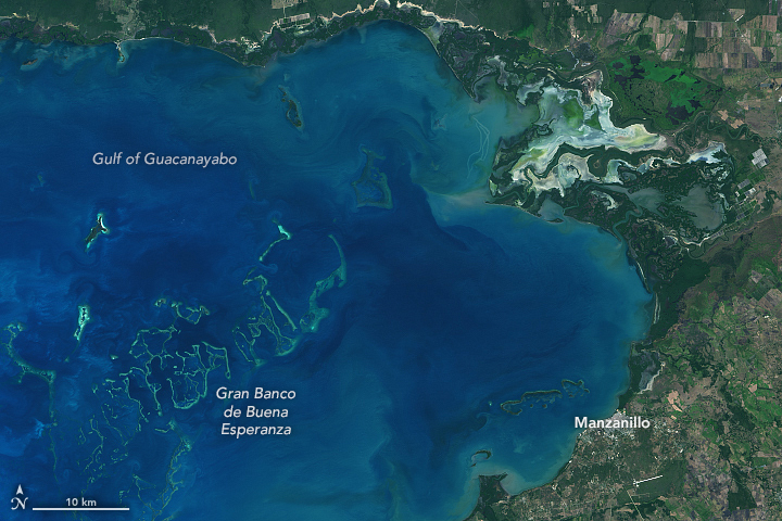 Sediments flowing into #Cuba's Gulf of Guacanayabo from the Río Cauto have built up a delta and helped bury a reef. earthobservatory.nasa.gov/images/146884/…