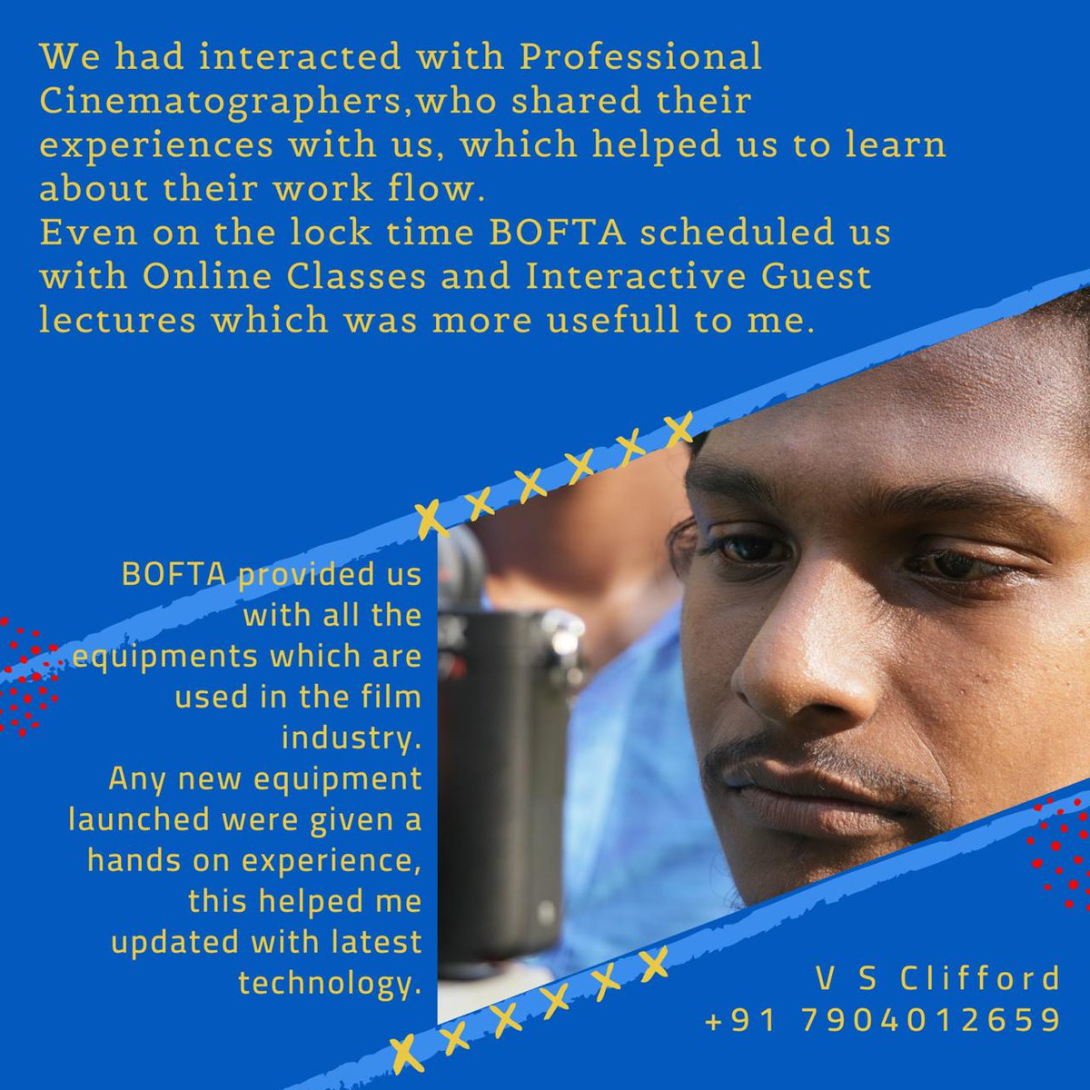 Thanks to all of my masters and bofta film institute. If you study in bofta , you can pursue your dreams. @BOFTAindia