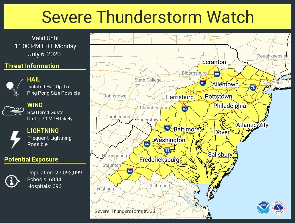 A severe thunderstorm watch has been issued for parts of DE, DC, MD, NJ, PA, VA until 11 PM EDT https://t.co/aczq1TfhHp