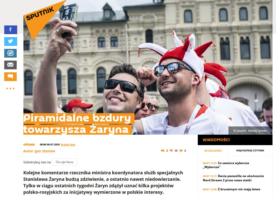 For the past several weeks, I've been exposing the Russian #infowar efforts against PL. It drives Russian #propaganda nuts. In response, the #Kremlin's mouthpiece Sputnik has spread rumors about my activity, family ties, and suggested Russia is under information attack by Poland. pic.twitter.com/GKThmbifkW