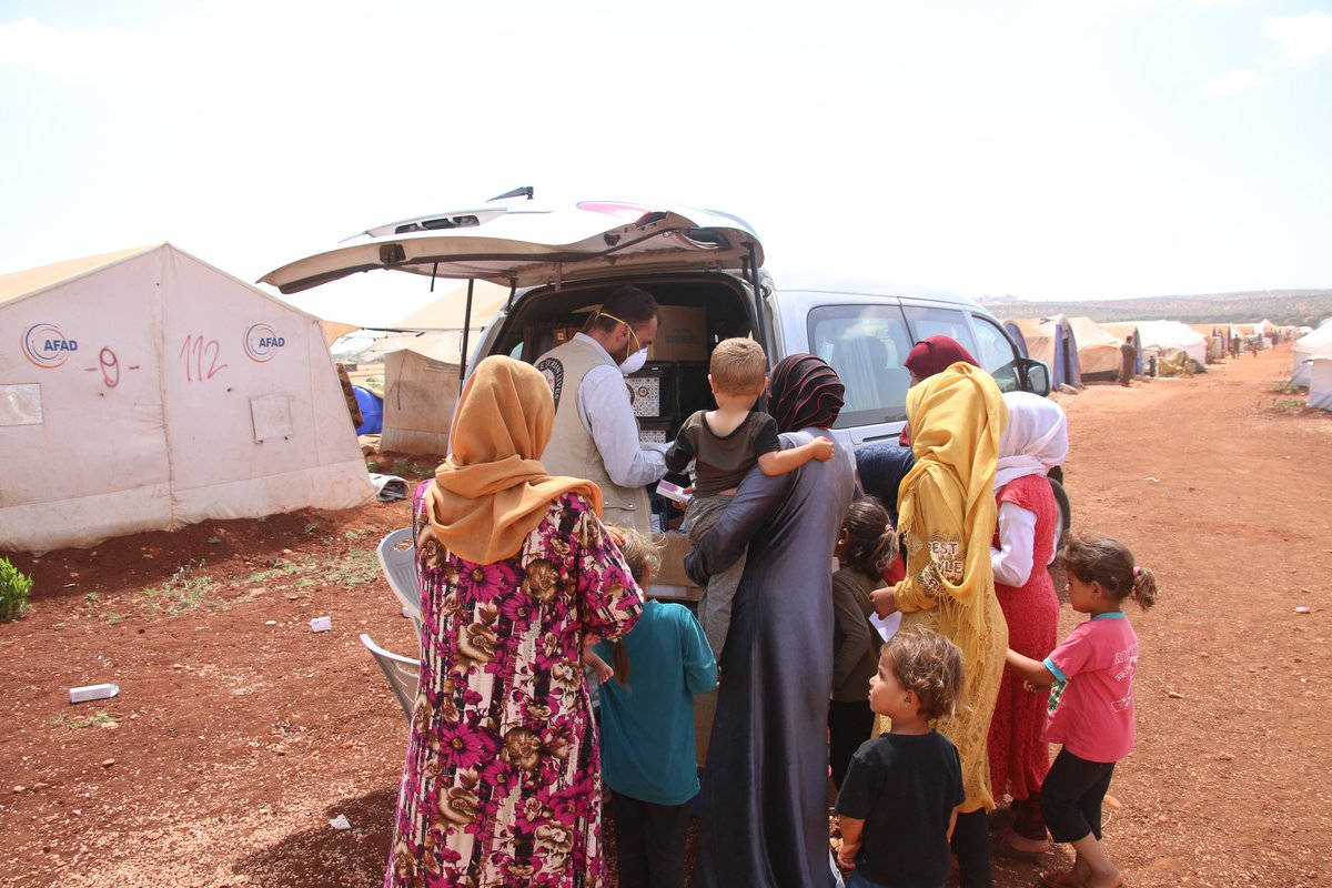 """""""These mobile clinics are vital for us who struggle to access care, esp. with the devaluation of the Syrian Pound & dire living conditions,"""" said Ahmed, a camp's resident.  Our mobile clinics in NW #Syria continue to travel to IDP camps to deliver care to the most vulnerable. https://t.co/9WcJmLt4zo"""