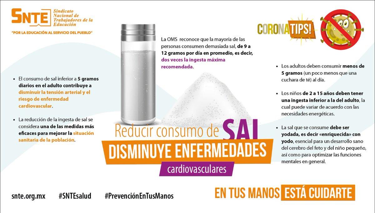 #SNTEsalud ⚕️  Disminuir el consumo de sal 🧂 en tus alimentos 🍲 ayuda a regular tu presión arterial ♥️ sobre todo si eres hipertenso, lo que te coloca dentro de los grupos vulnerables al #Coronavirus #COVID19 🦠  #QuédateEnCasa https://t.co/Q1PXUq6GWf