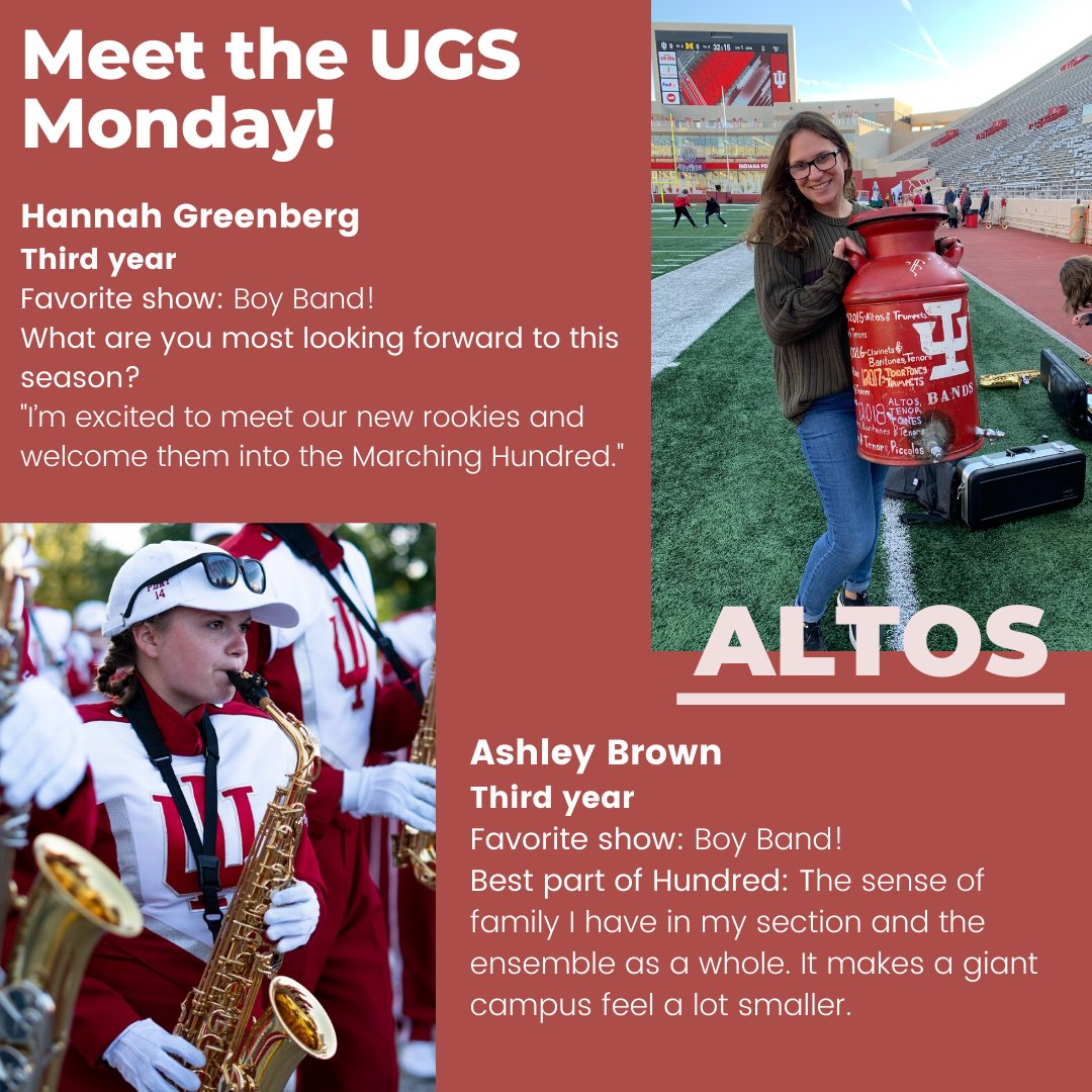 Welcome to our first Meet the UGS Monday, a weekly feature of our Undergraduate Staff members! This week we're featuring our alto and mello UGS. We can't wait for this season! #GoIU ⚪️🔴 https://t.co/PlD9PNawAF