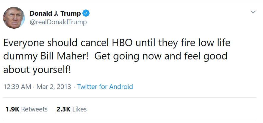 Just scrolling through the Twitter feed of the president who 'wants no part in cancel culture'...