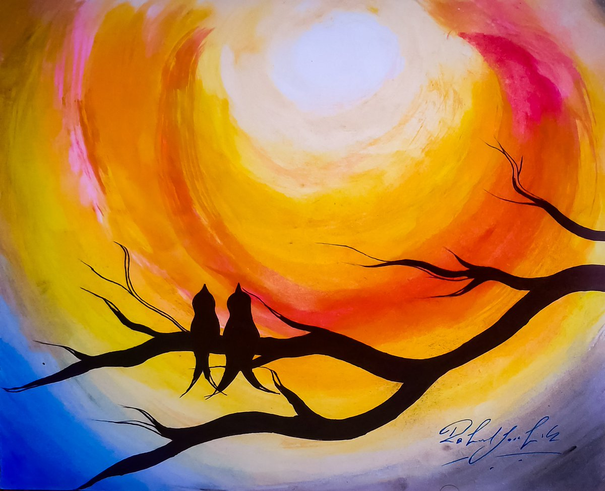 #painting #poster #colour #sun #brightness #light #nature #tree #birds #red #yellow #white #blue #blackdrongo #beautiful #evening #ICO https://t.co/gcqd4uLu6o