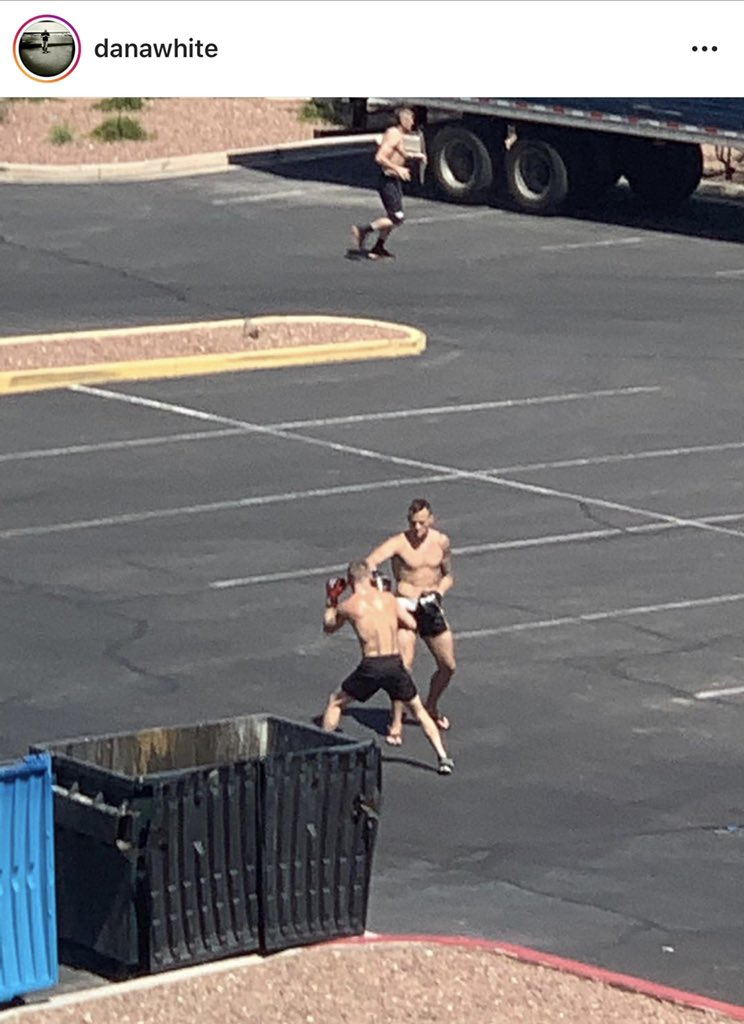 The boss got a glimps of @TheJamesKrause and I getting work in the hotel parking lot before our departure to fight island! @danawhite  #FightIsland https://t.co/g1oKW1KMx7