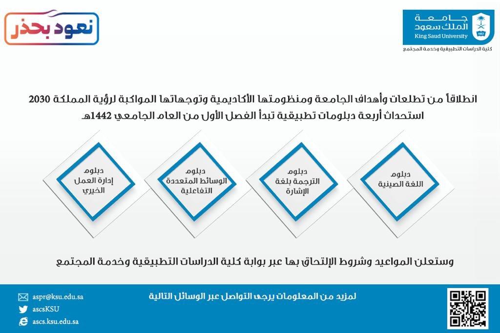 جامعة الملك سعود On Twitter استحداث أربعة دبلومات تطبيقية تبدأ الفصل الأول من العام الجامعي 1442هـ