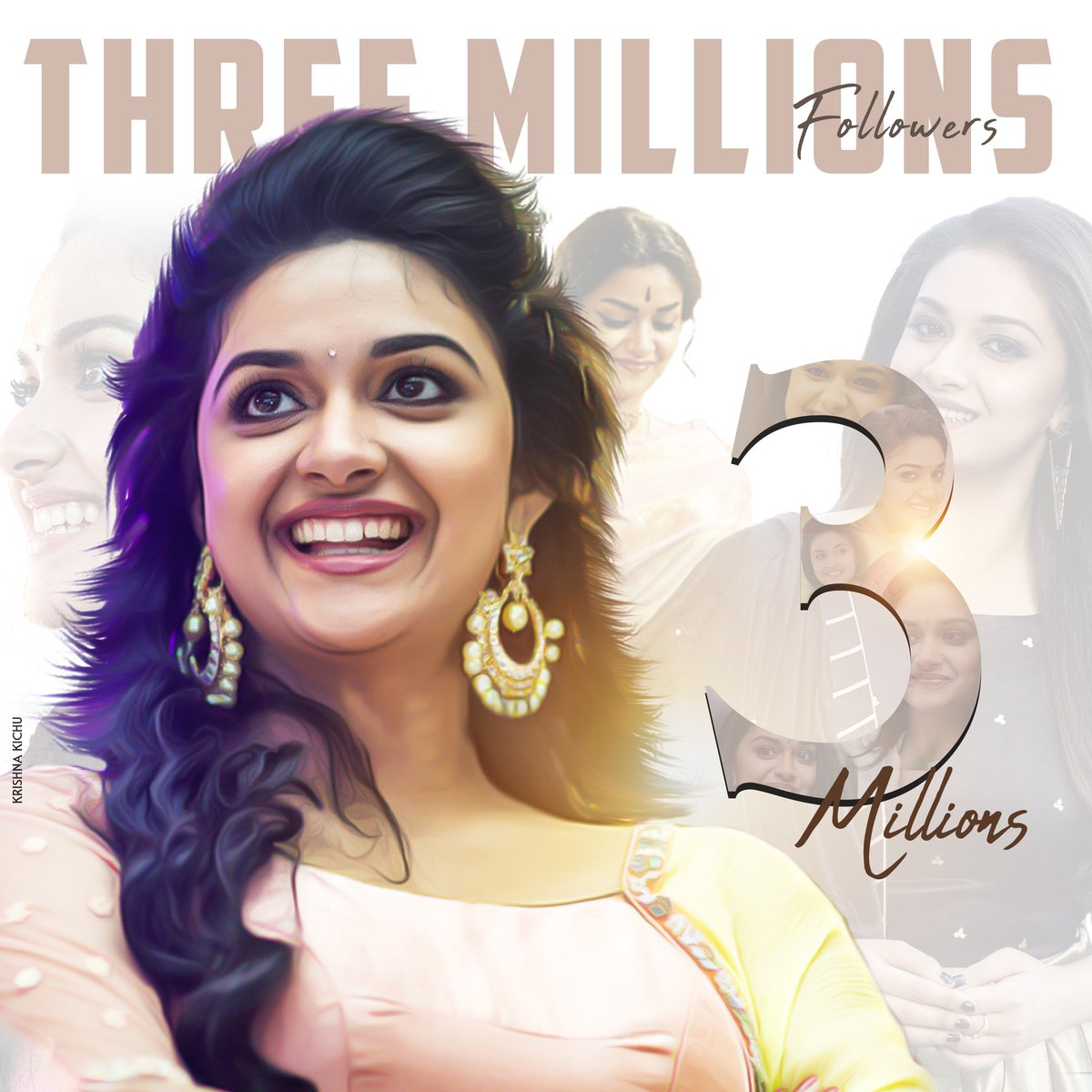Congratulations To @KeerthyOfficial For 3M Followers.Congratulation From @actorvijay Fans..May We Bless For Our #KeerthySuresh Darling To Reach 5M Sooooon....#KeerthySuresh @keerthy_kdfc  #Masterpic.twitter.com/hiOrBPSvLg