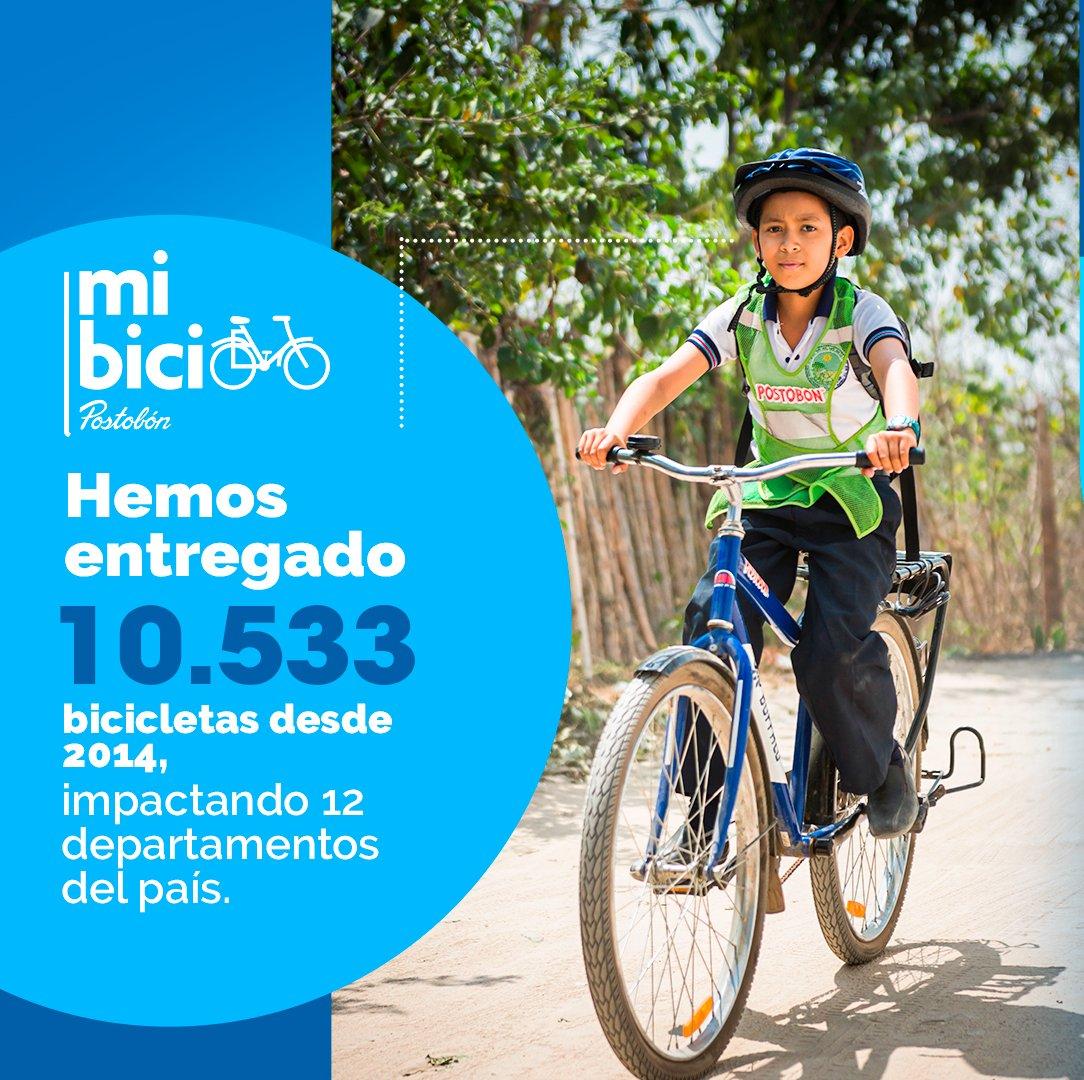 Por medio de nuestro programa #MiBiciPostobón hemos entregado 10.533 bicicletas desde 2014, impactando 12 departamentos del país. Buscamos hacer de la bicicleta un instrumento de transformación social. #Educación #Niñez #PostobónTómateLaVida https://t.co/FpezEksDJ6