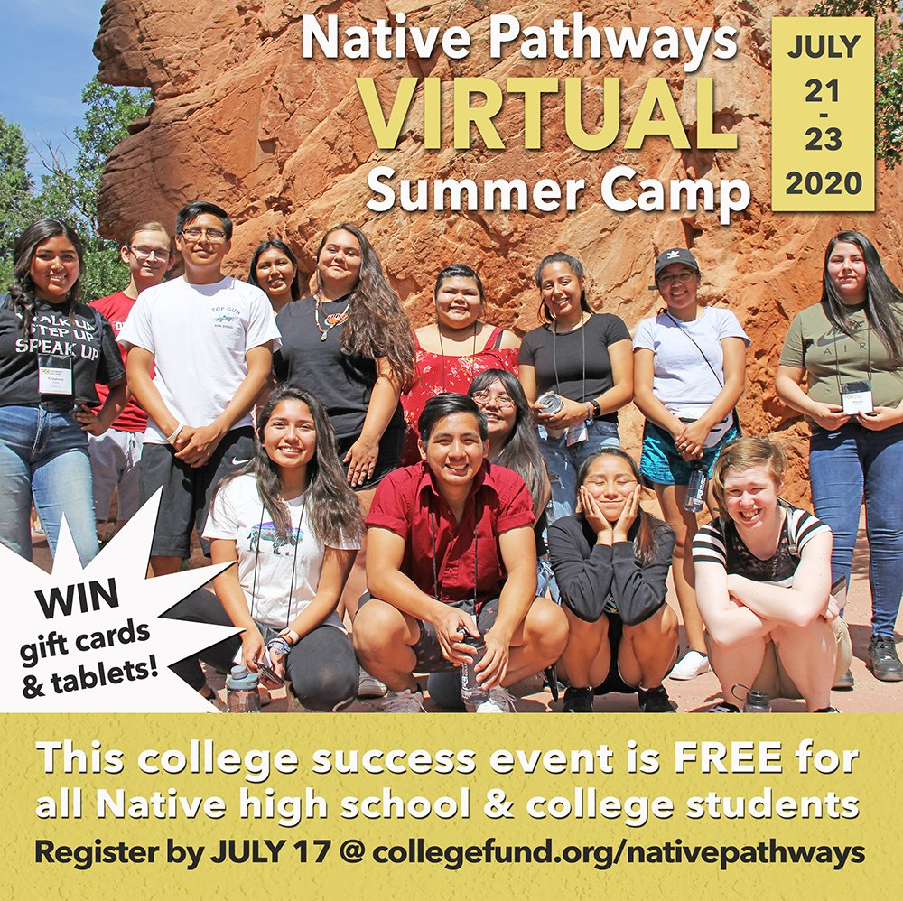 @nativepathways's VIRTUAL Summer Camp is JULY 21-23! All Native rising high school juniors/seniors & college students can attend this FREE 3-Day college prep & planning event. WIN gift cards and tablets!  Register at https://t.co/l3MKL0dAC1 #ThinkIndian #NativeAmerican #College https://t.co/PSB174K9qL