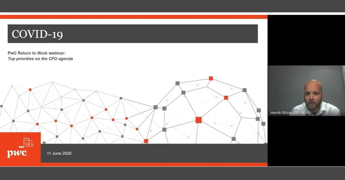 "Ta del av ""PwC:s Return to work webinar"" med Henrik Olsson, Director PwC, Johan Rippe, Markets Leader PwC och Robert A Smith, Finance Transformation Leader PwC. Webbinariet är på engelska. https://t.co/GDrC3Qq2rH   #PwCSverige #CFO #returntowork #webinar #covid19 https://t.co/2qHK4Bez6z"