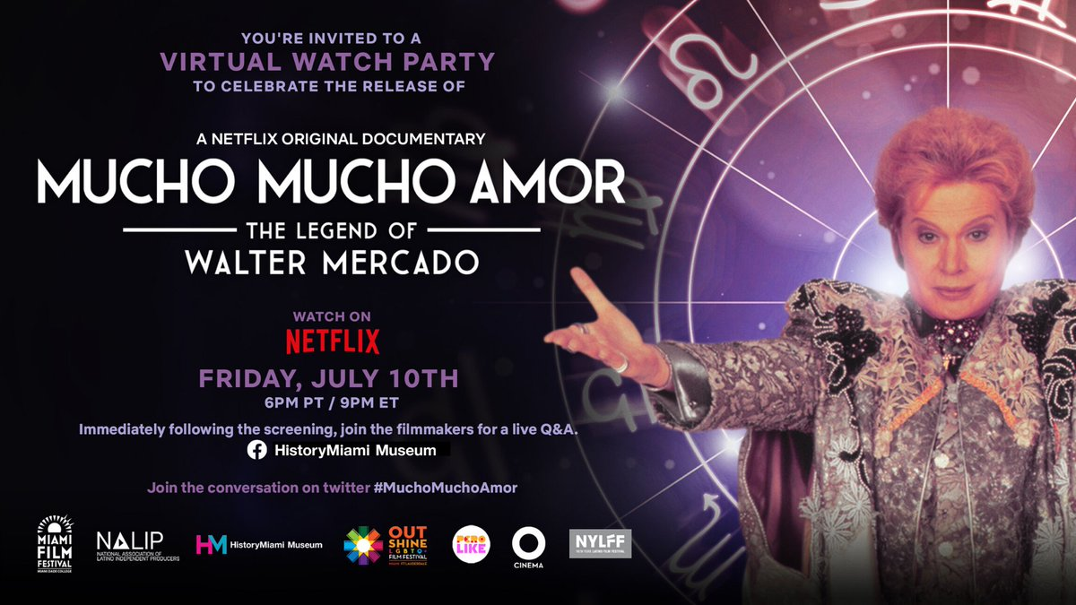 Ready for a week filled with #MuchoMuchoAmor? 🔮  This Friday, in celebration of the @Netflix premiere of MUCHO MUCHO AMOR: THE LEGEND OF WALTER MERCADO, join us & our community partners for an online watch party starting at 9pm ET! https://t.co/iU36vLGJho