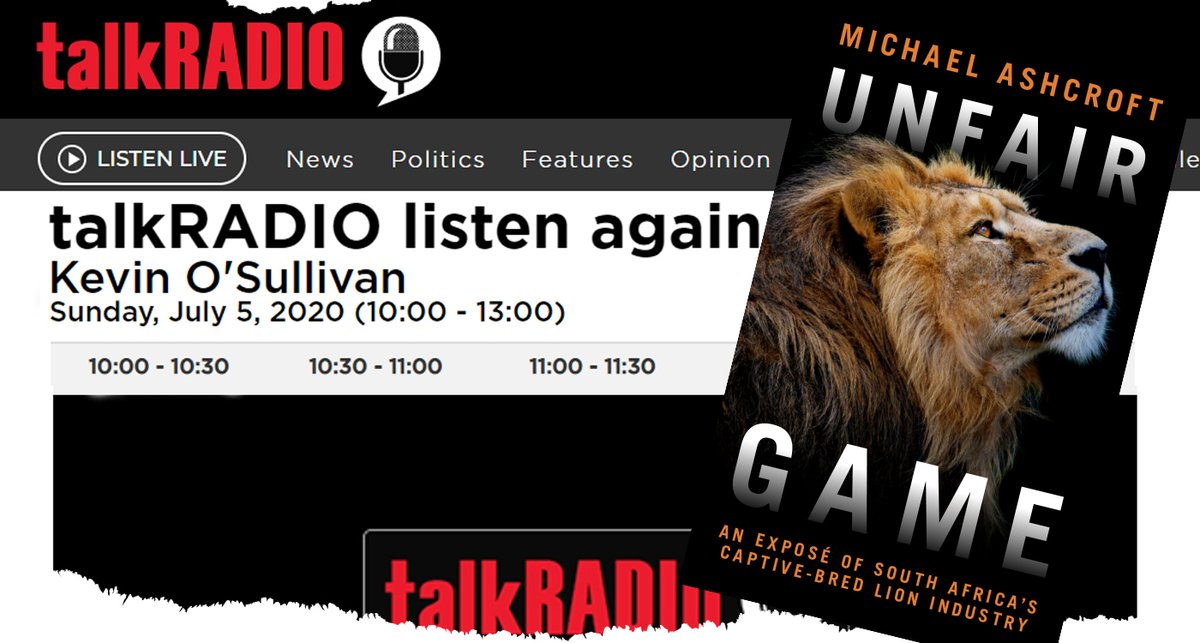Listen to my interview with Kevin O'Sullivan (@TVKev) on @TalkRADIO about my new book #UnfairGame which reveals the horrors of lion farming in South Africa 👇FULL INTERVIEW👇 https://t.co/f0asfprH0q https://t.co/JjcsDmvgzc