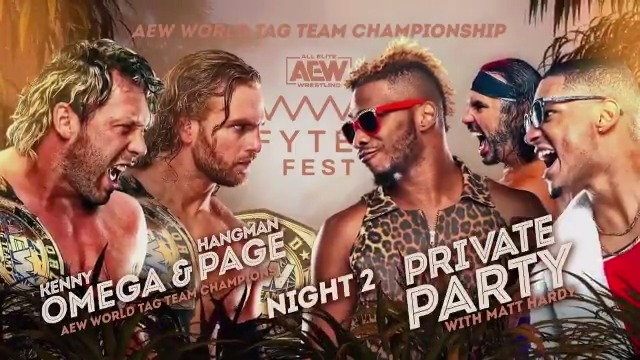 This Wednesday at #FyterFest - The #AEW World Tag Team Championships are on the line as the challengers #PrivateParty face the champions @KennyOmegamanX & @theAdamPage! Watch night two of #FyterFest for FREE on Wednesday, July 8th, at 8e7c on @TNTDrama.
