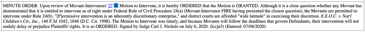 Breaking: Judge grants @TheFIREorg's motion to intervene in state AGs' lawsuit challenging the new Title IX regs.