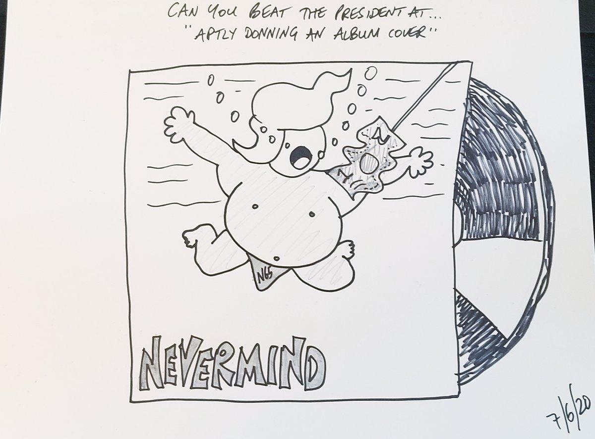 "Can You Beat The President At ... ""Aptly Donning An Album Cover""  Nirvana? Nevermind.  #nirvana #nevermind  #CartoonsByAndy #TrumpCartoons #CanYouBeatThePresidentAt #PoliticalSatire #PoliticalHumorpic.twitter.com/WOmcGp2TQ7"