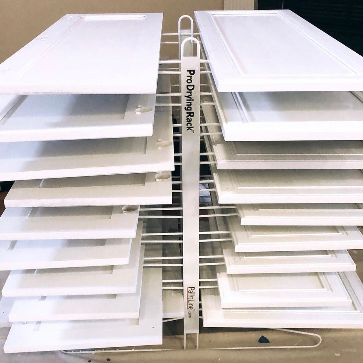 Is your workshop too crowded with freshly painted #cabinet doors and pieces laying around? Solve that issue with a ProDryingRack TT (PDRTT)! This table-top drying rack can hold up to 20 doors, making it a perfect size for smaller #workshops and #garages. https://t.co/kqaWJMH7fa https://t.co/YhOg0tRff0