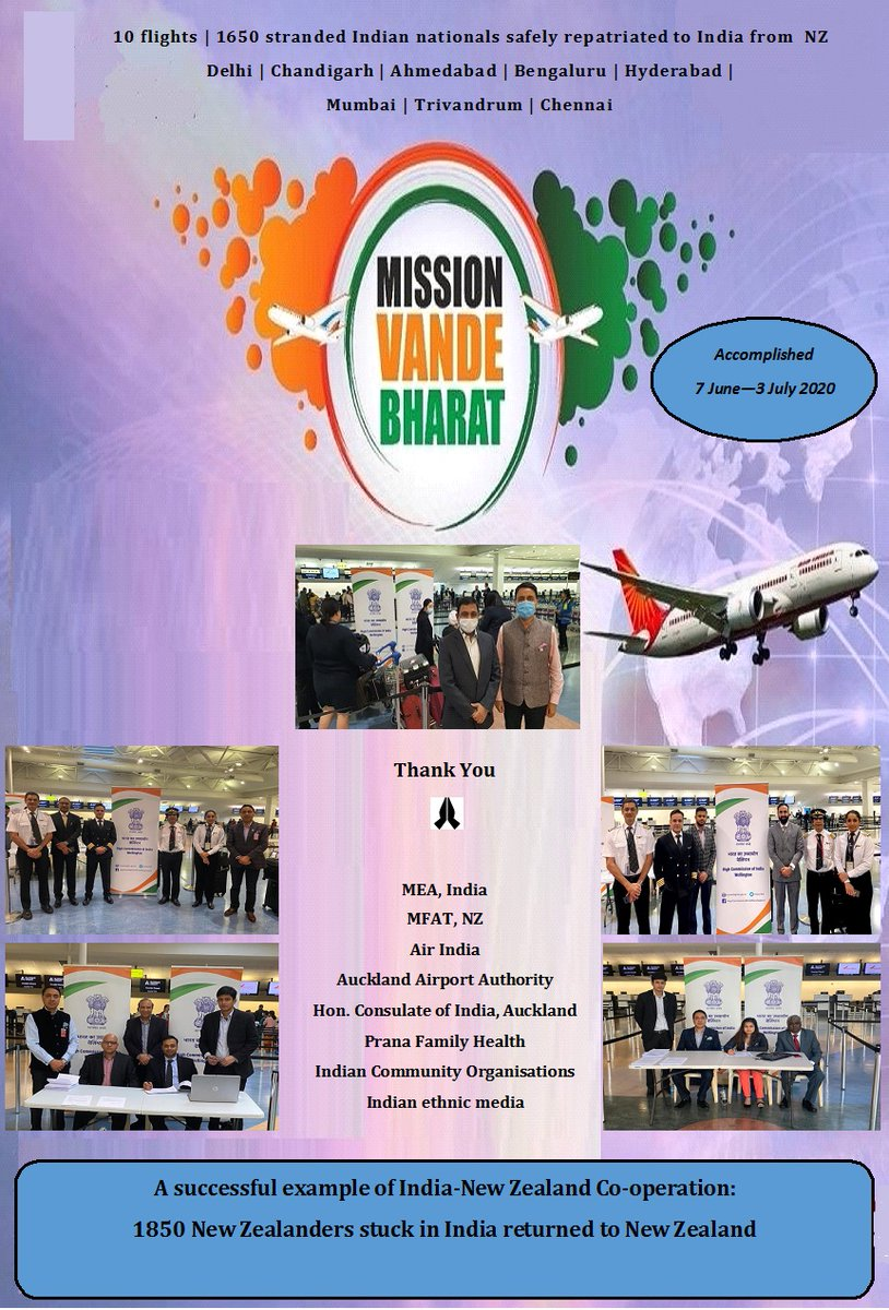 During 7 June – 3 July, the High Commission successfully implemented #vandebharatmission to repatriate hundreds of stranded Indian nationals from NZ to India. We would like to thank all for their valuable support in the smooth implementation of this Mission. @MukteshPardeshi