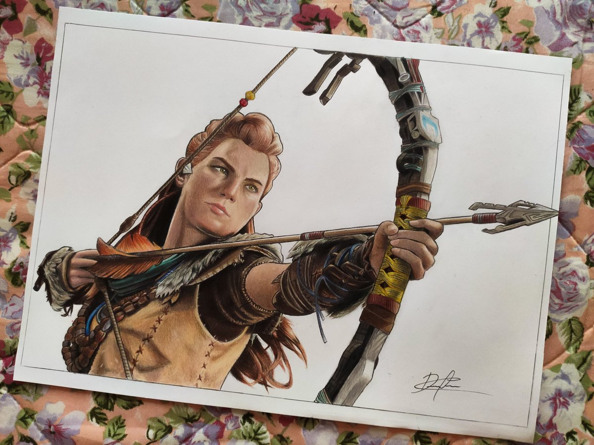 Aloy finished  this is one of my favorite characters of all time and finally I draw her  #HorizonForbiddenWest #games #artwork #BeyondTheHorizon #FanArtFriday pic.twitter.com/2mrU8JpnjD