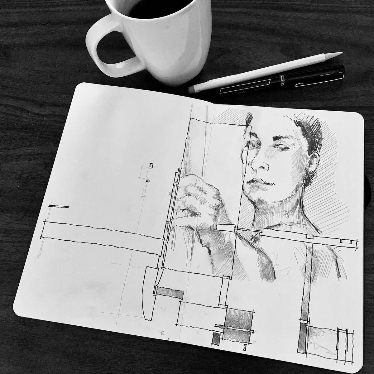 07.06.20  #coffeesketch #pencilsketch #inksketch #mixedmedia #figure #figuredrawing  #formspaceorder #hybriddrawing #draweveryday #dailysketch #quicksketch #art #architecture #podcastpic.twitter.com/avUUUkua5X