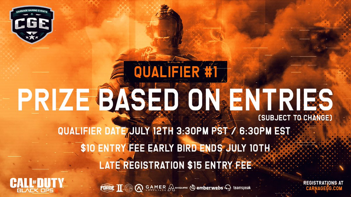Excited to Announce we are Hosting a Throwback Black Ops 4 League. Qualifier #1 📆 July 12th ⏰ 3:30pm PST / 6:30pm EST 💰 $10 Early Bird Ends July 10th 🏆 All Entries Collected from Qualifiers for Prize Pool 100% Payout 📄 Double Elimination Winners BO5 / Losers BO3