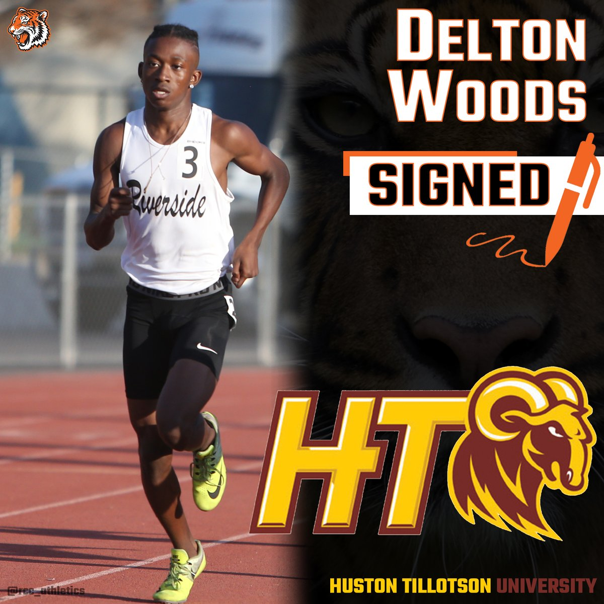 ANOTHA ONE ☝. @rcctigersmenstfxc Delton Woods inks his NLI to attend Huston TIllotson University in Texas. He will be running the 4 x 400 M Relay and 800 M. Congrats! #TheCommunitysCollege https://t.co/zWaurHrFVP