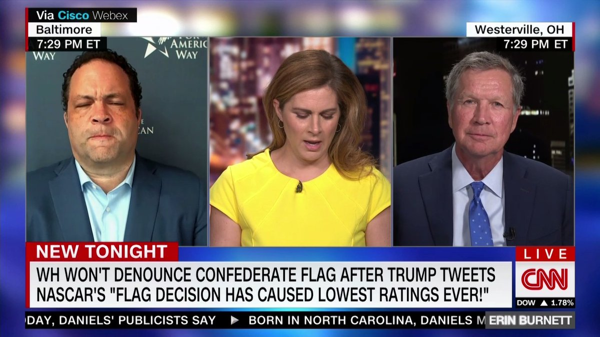"""He's flailing,"" says former Republican governor of Ohio @JohnKasich on why President Trump won't denounce the Confederate flag. ""…He's in a meltdown and he looks at his polls and he doesn't know who to blame. He blames his advisers and he's even blaming Fox News now."" https://t.co/g4RV9btC33"