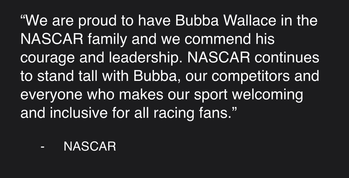 NASCAR issues a statement after Trump tweet: https://t.co/Sq70SWl0aW