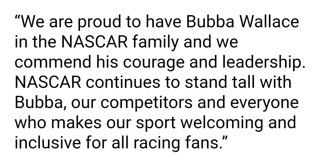 NASCAR statement https://t.co/4ZgUgKClsu
