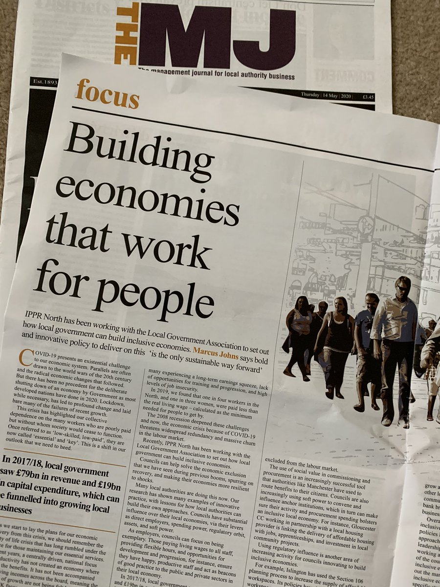 Great to see @IPPRNorth research by @MarcusIPPR on inclusive economies in print @themjcouk 'the only sustainable way forward' and with commentary from @SirRichardLeese