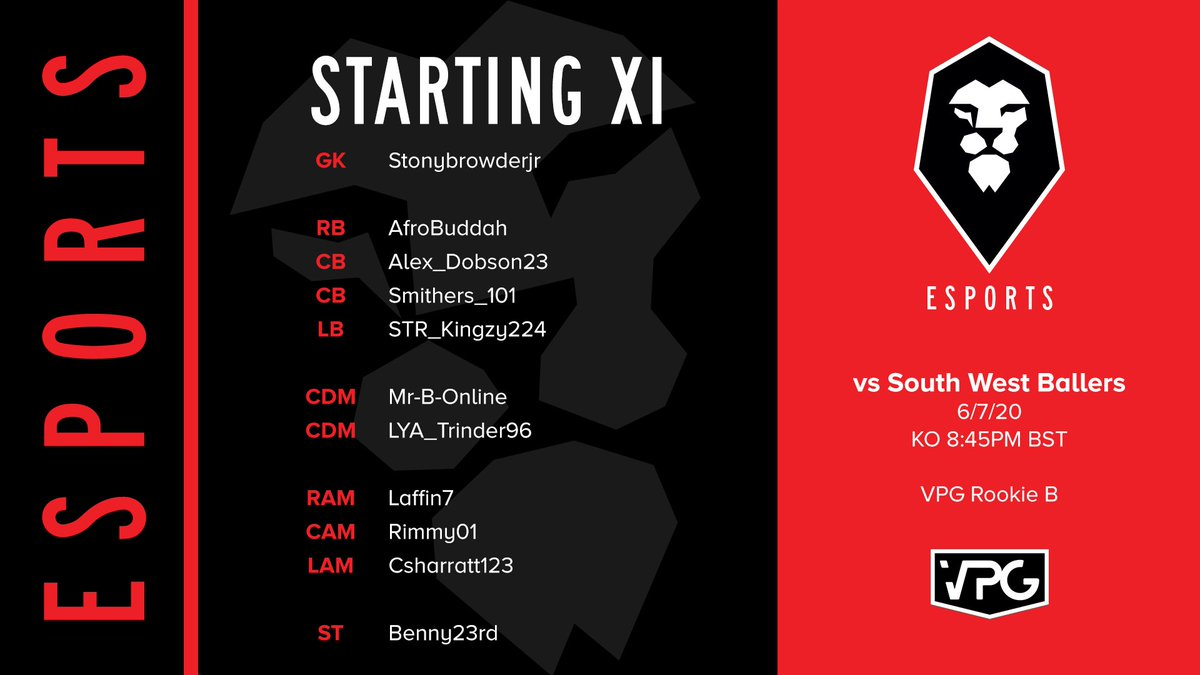 There is one fixture tonight for the official Salford City eSports team! 🎮  🆚 @SouthWBallers  🕣 KO 8:45PM BST 🏆 VPG Rookie B 📺 Watch live on our official Twitch: https://t.co/cixSiOaCnt  #WeAreSalford 🦁🔴 https://t.co/H6P1facKlx