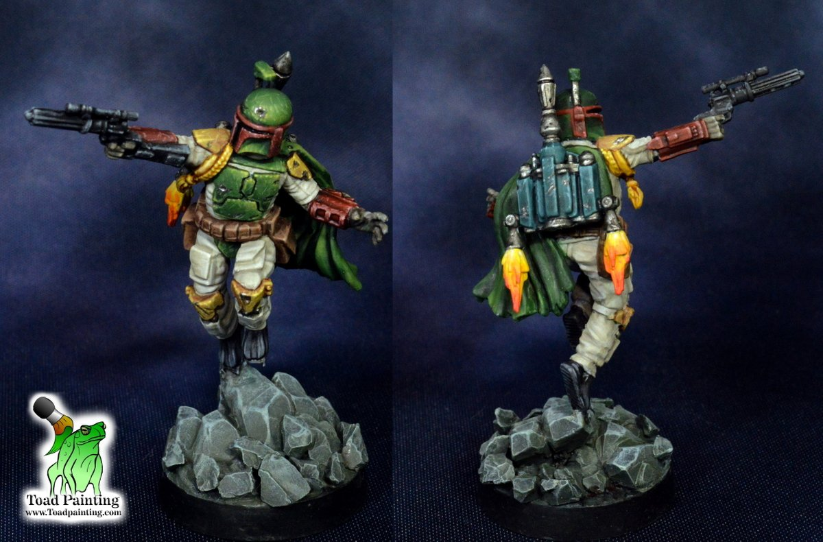 Everyone's favorite bounty hunter, Boba Fett from  #starwarslegion by @FFGames. For this commission made an effort to get rid of his flight stand, so I changed him to leaping off some rocks instead.  #minipainting #miniaturepainting #miniatures #StarWars #miniaturemonday https://t.co/pqiGkEkRAn