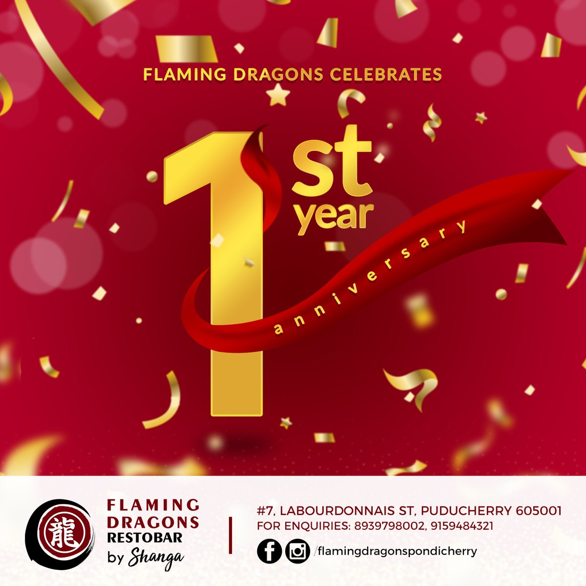 Yippee! Flaming Dragons is celebrating its first year anniversary today. Thanks to all for your love and support. #flamingdragons #pondicherry #puducherry #bonjourpondicherry #pondicherrynightlifepic.twitter.com/nuSzIkrp6G