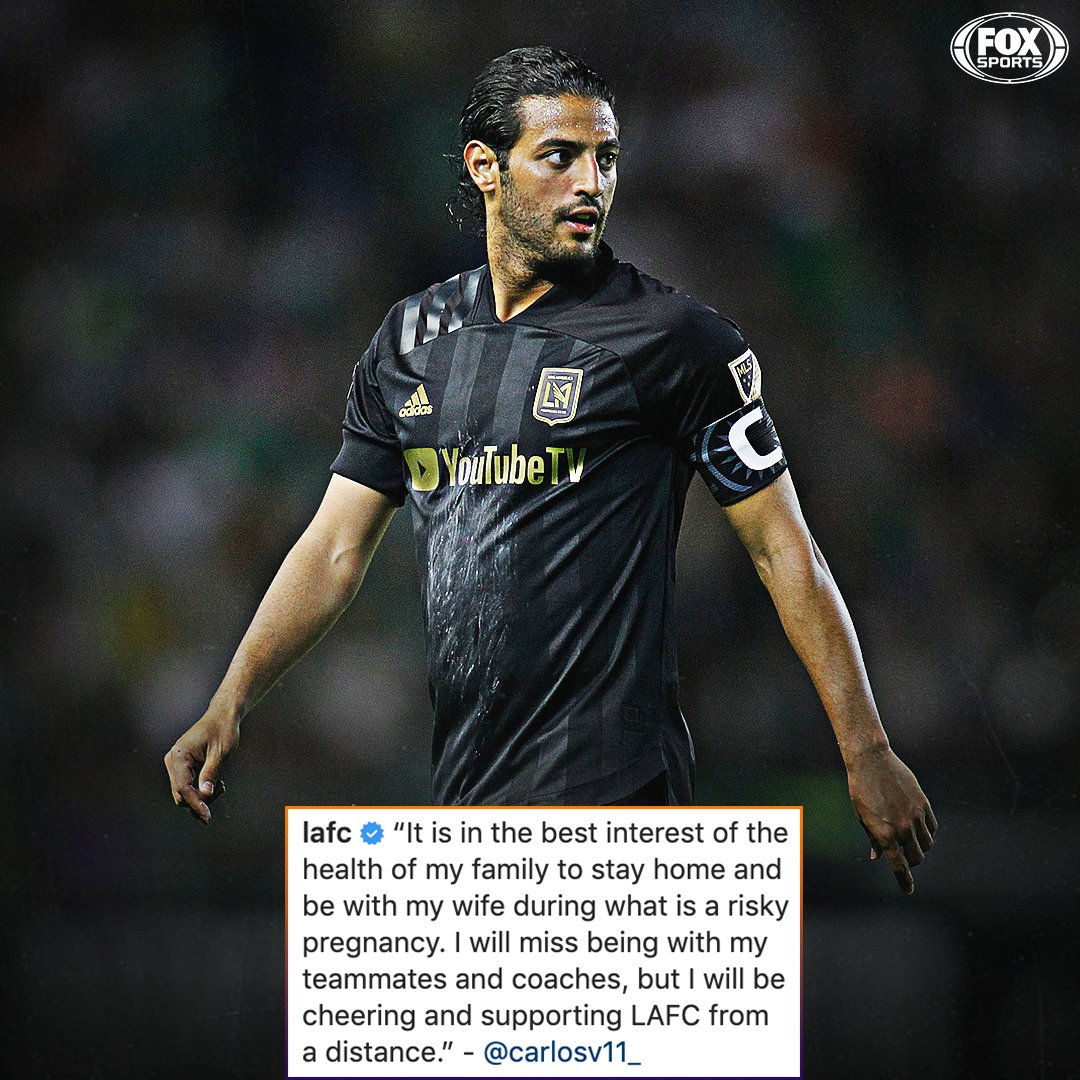 LAFC captain Carlos Vela announces that he has opted out of the #MLSisBack Tournament.