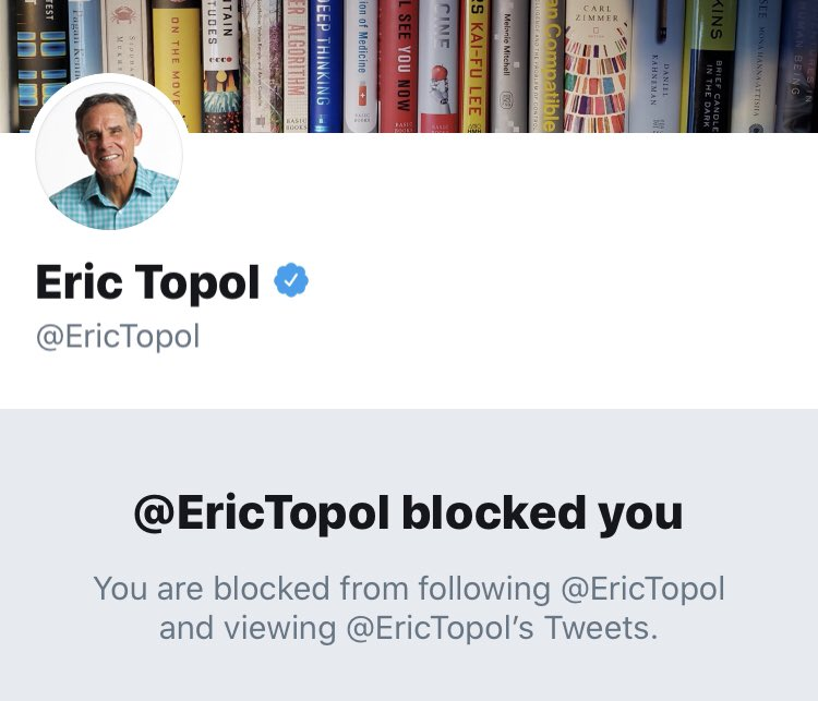 @EricTopol Guess I shouldn't be surprised you're sensitive to criticism.