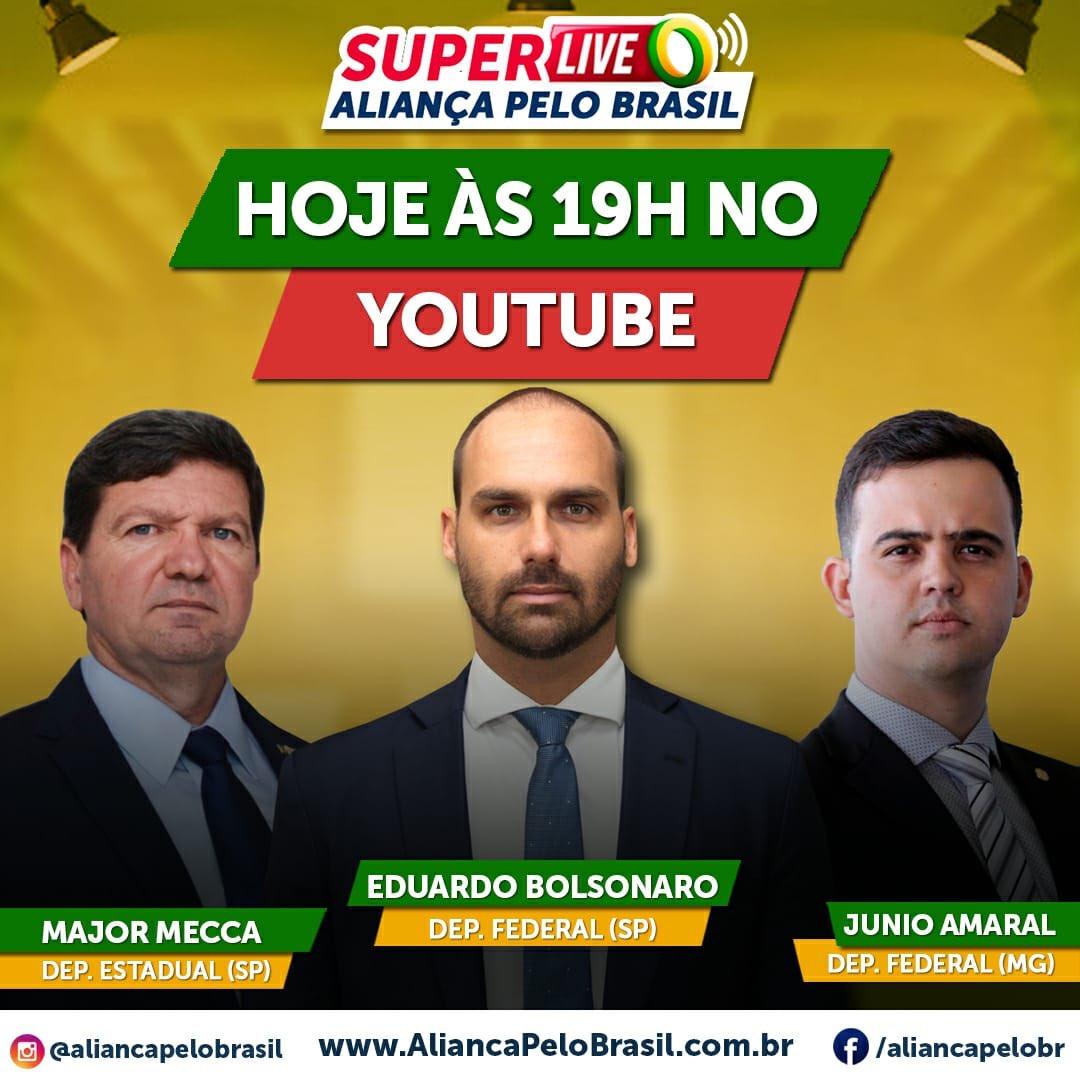 Hoje, às 19 horas, participarei de uma Live com o Deputado Federal @bolsonarosp (SP) e com o Deputado Estadual @MajorMecca (SP). Acompanhem pelo Youtube no canal do Aliança Pelo Brasil. 🇧🇷 youtube.com/aliancapelobra…