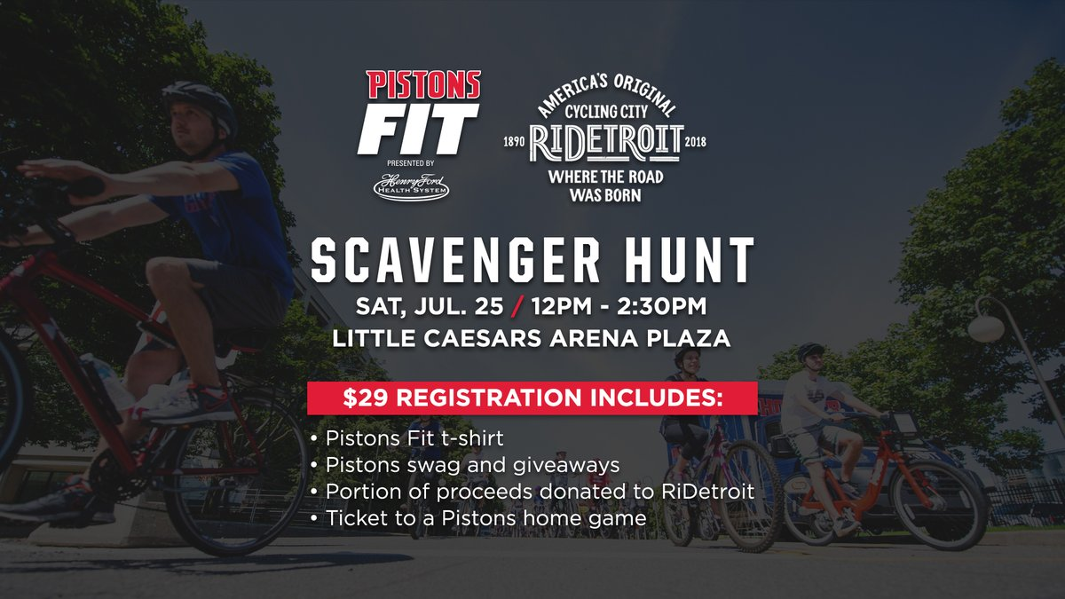 Grab your bicycle and join us and RiDetroit July 25 for a scavenger hunt around the city as our #PistonsFit Summer Series presented by @HenryFordNews continues!   Get the details and sign up: https://t.co/lyt7Hp19oi https://t.co/Z1Q8GhfFgn