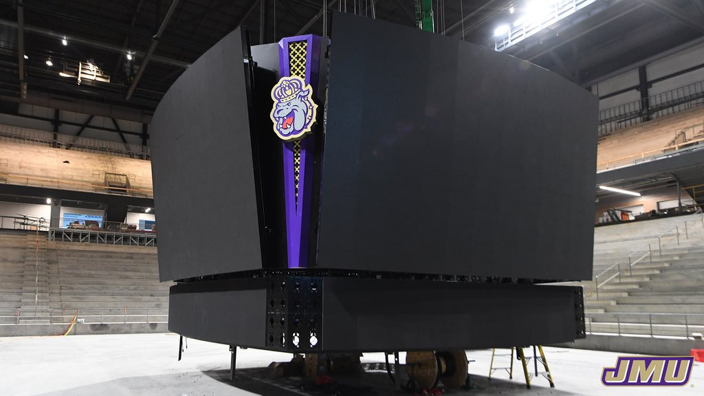 It's starting to get real!  The @Daktronics video boards are going in at the @Atlantic_Union Bank Center! 👀⬇️  #GoDukes https://t.co/CBLnnhsQbn