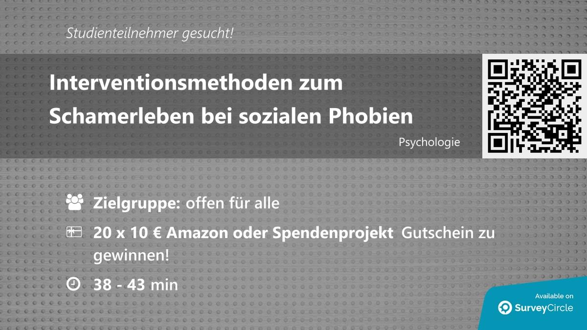 """Teilnehmer gesucht für top-platzierte Online-Studie:  """"Interventionsmethoden zum Schamerleben bei sozialen Phobien"""" https://t.co/rp5IQEj9x1 via SurveyCircle  #psychologie #psychotherapie #scham #SozialePhobie #angst #selbstmitgefühl #umfrage #surveycirc… https://t.co/i17HNsLc29"""