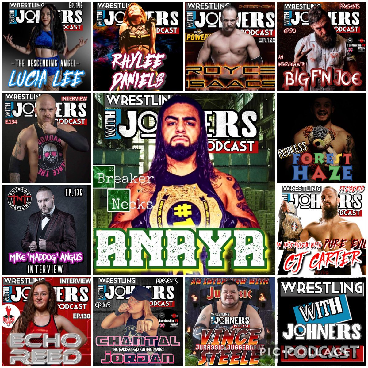 Here's just some of the fantastic guests that have appeared on @withjohners_pod, make sure to check them out!  @BreakerofNecks   Apple https://t.co/rz8u4Pm2OL  Spotify https://t.co/A7Sue6bR2e  #wrestling #WrestlingCommunity #aew #wwe #podcast https://t.co/y0ajX7VQr9